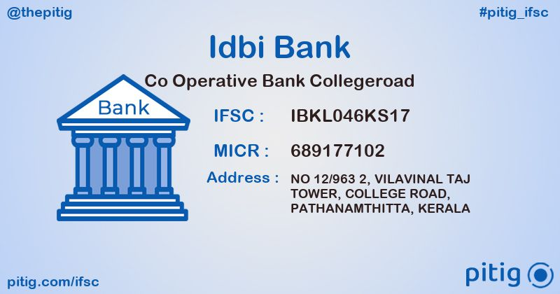 IBKL046KS17 CO OPERATIVE BANK COLLEGEROAD ifsc code