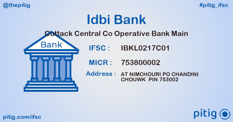 IBKL0217C01 CUTTACK CENTRAL CO OPERATIVE BANK MAIN ifsc code