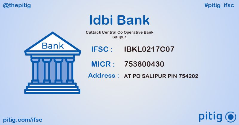 IBKL0217C07 CUTTACK CENTRAL CO OPERATIVE BANK SALIPUR ifsc code