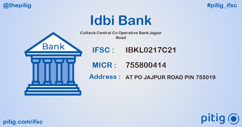 IBKL0217C21 CUTTACK CENTRAL CO OPERATIVE BANK JAJPUR ROAD ifsc code