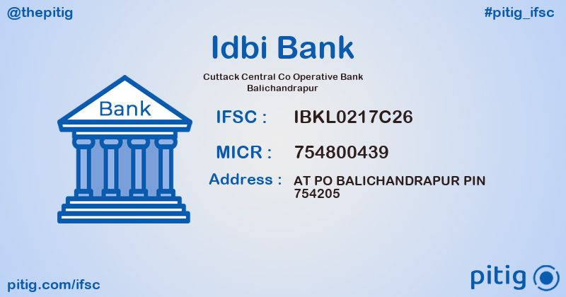 IBKL0217C26 CUTTACK CENTRAL CO OPERATIVE BANK BALICHANDRAPUR ifsc code
