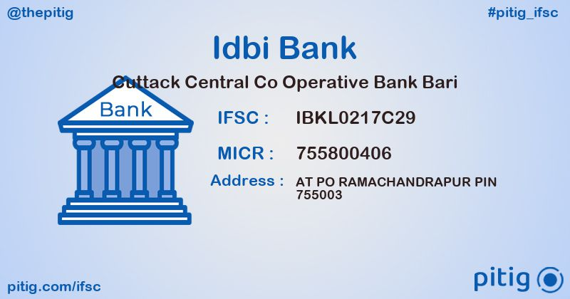 IBKL0217C29 CUTTACK CENTRAL CO OPERATIVE BANK BARI ifsc code